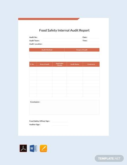 food saftey internal audit report