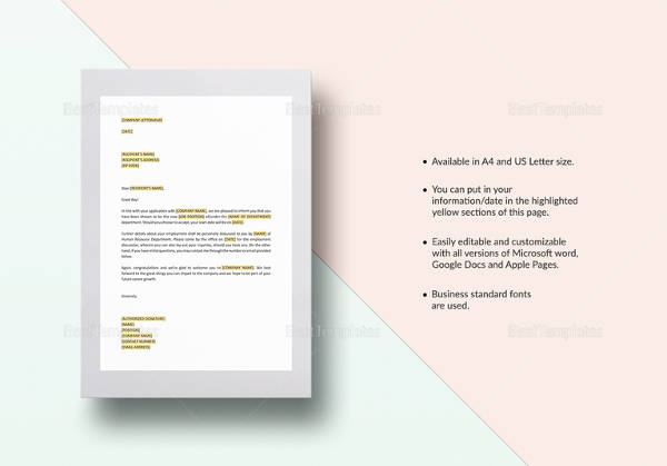 formal job invitation letter template