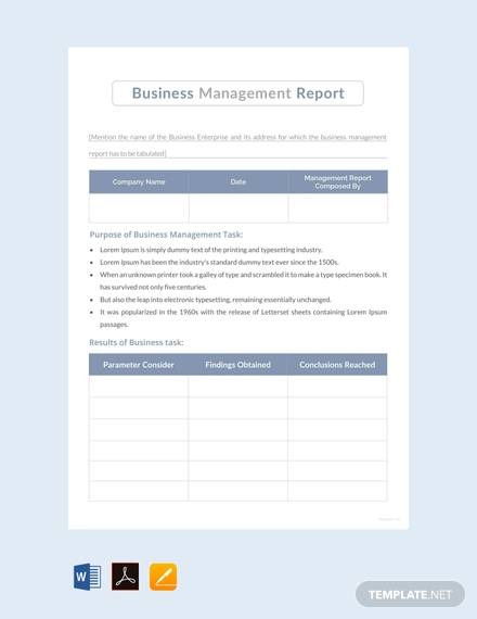 free business report template