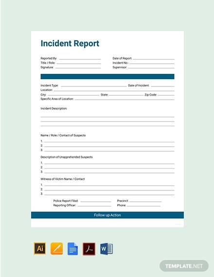 free incident report sample template