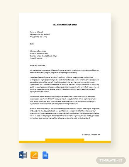 free 10  sample mba recommendation letter templates in pdf