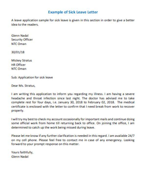 general sick leave letter