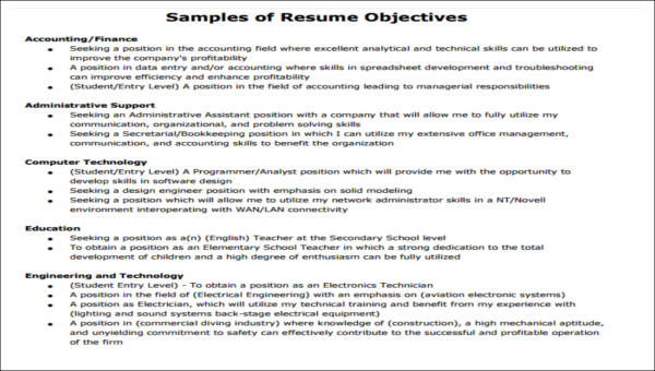 5+ Generic Resume Objectives | Sample Templates