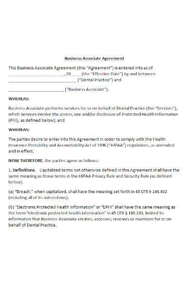 hipaa business associate agreement in ms word
