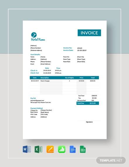 hotel room invoice template
