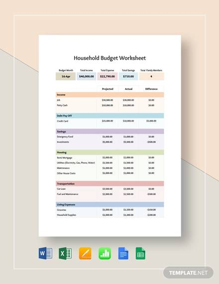 household budget worksheet template