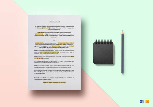 land lease agreement template to print