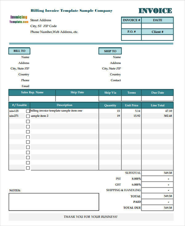 Sample Billing Statements Examples In Word PDF Sample Templates - Invoice statement