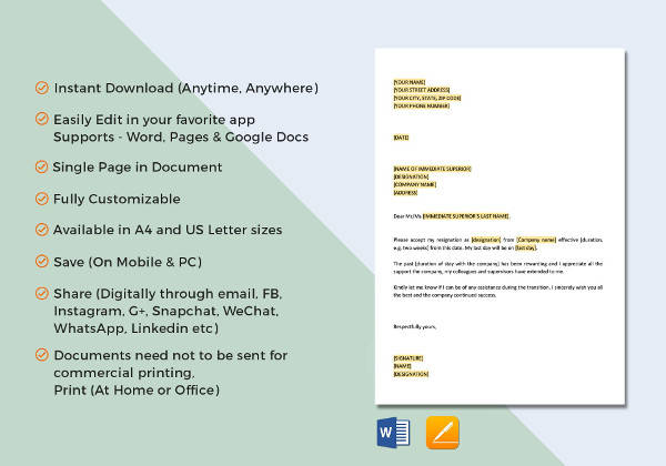 12+ Simple Resignation Letters – PDF, Word, Apple Pages, Google Docs ...