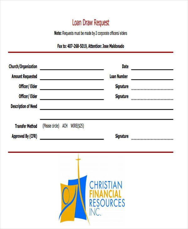 loan draw request in pdf