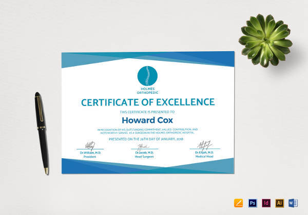 certificate of excellence in word format