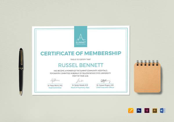 medical membership certificate in psd