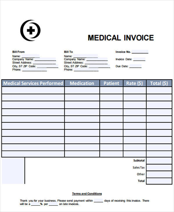 medical office invoice