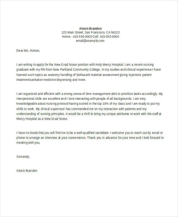 7 nursing student cover letters sample templates for Cover letter for newly graduated student