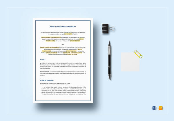 non disclosure agreement template to edit