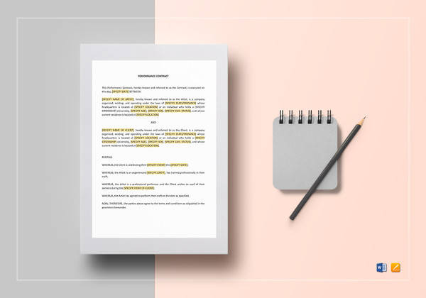 performance contract template to print