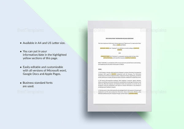 post employment information release agreement template