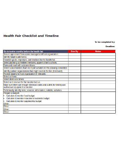 printable checklist and timeline