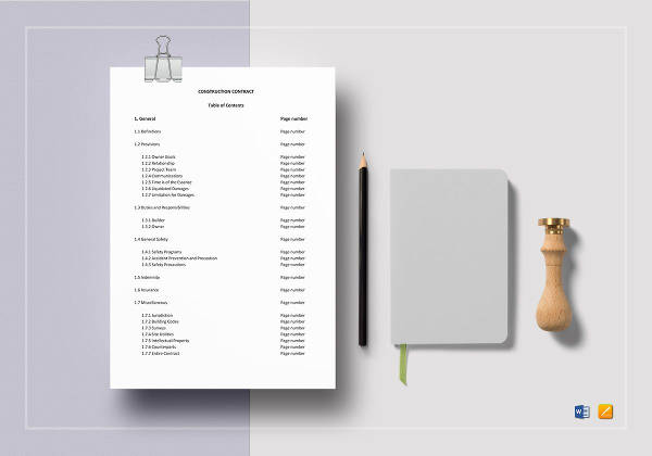 printable construction contract template