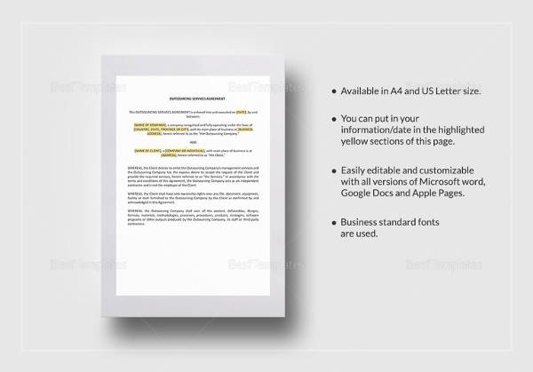 printable outsourcing services agreement template