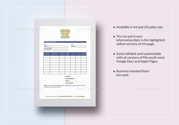 printable price quotation