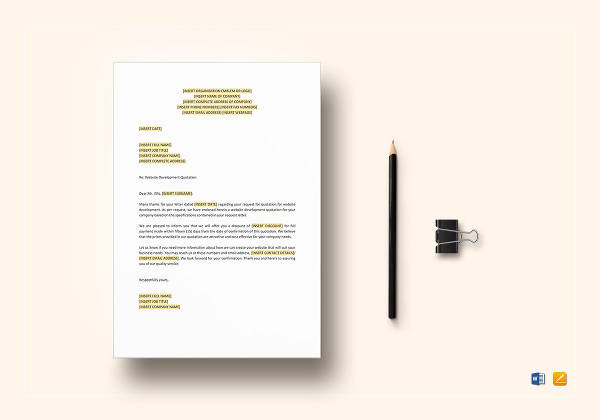 printable website development quotation template