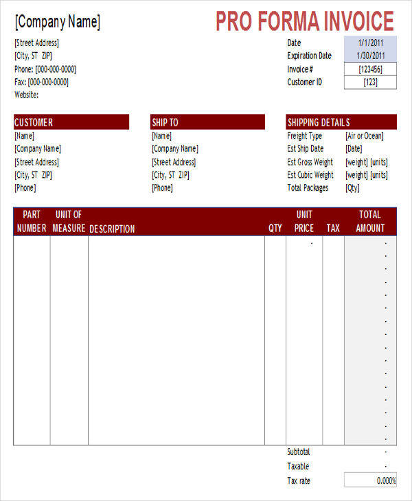 Sample Proforma Invoice   Examples In Excel Pdf Word