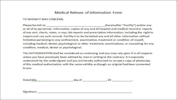 release of medical information form sample 9 examples in word pdf