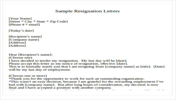Resignation Letter Format Template from images.sampletemplates.com