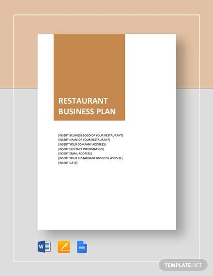 free restaurant business plan template word