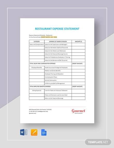 restaurant expense statement template