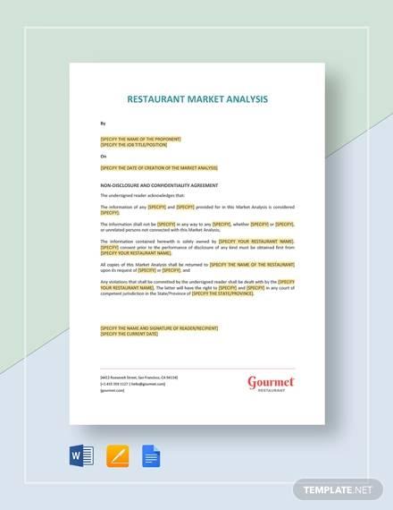restaurant market analysis template
