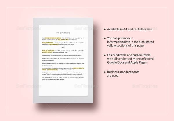 sales contract template simple