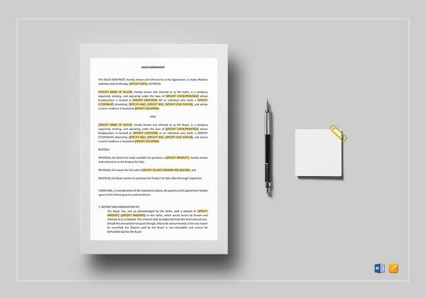 sales contract template in word