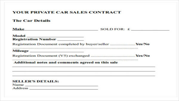 12+ Sample Car Sales Contracts | Sample Templates