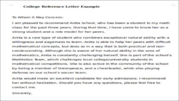 sample of college recommendation letter