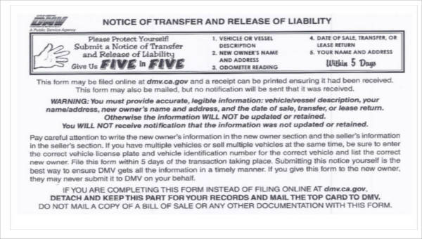 Dmv Release Of Liability >> Sample Dmv Release Form 10 Examples In Word Pdf