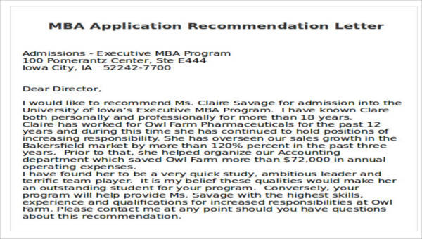 7  sample mba recommendation letters