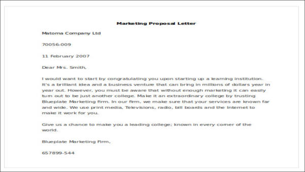 Sample Marketing Proposal Letter 5 Examples In Pdf Word