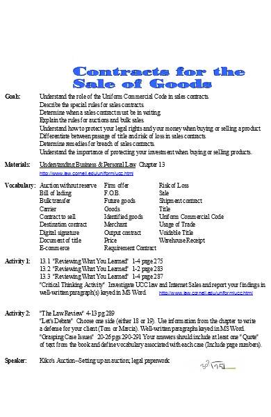 sample sales contract in excel