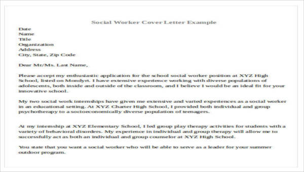 7+ Sample Social Worker Cover Letters