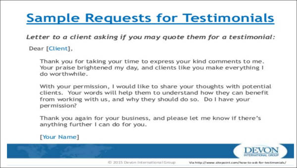 5 sample testimonial request forms sample templates