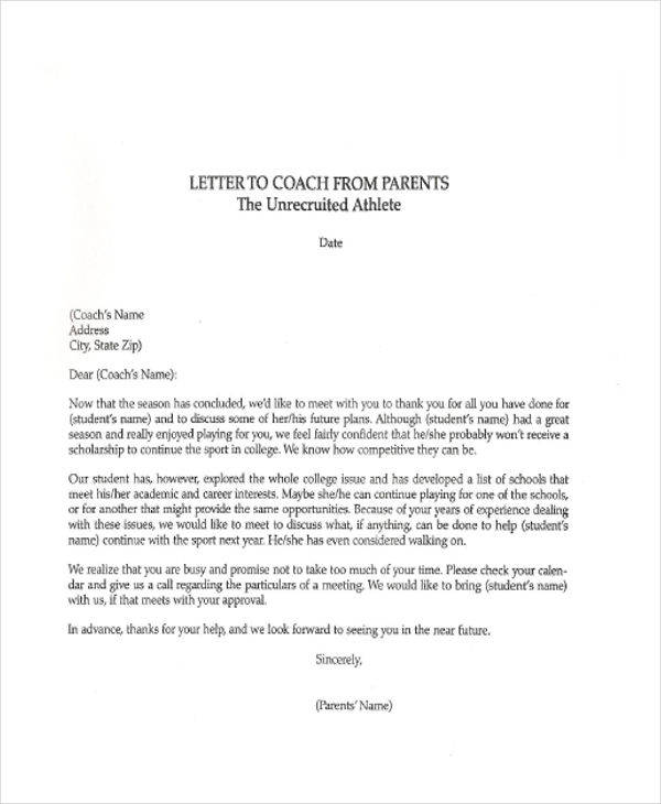 Sample Thank-You Letters To Coach - 6+ Examples In Word, Pdf