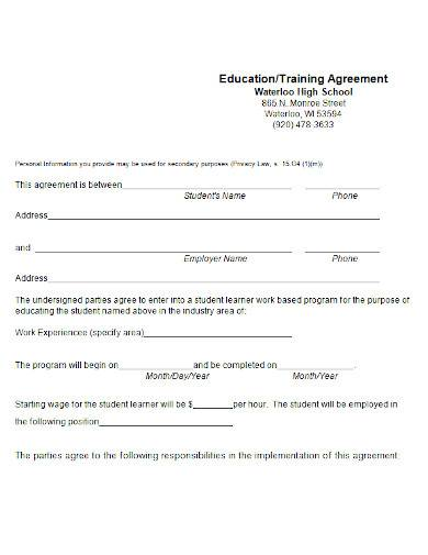 sample training agreement in ms word