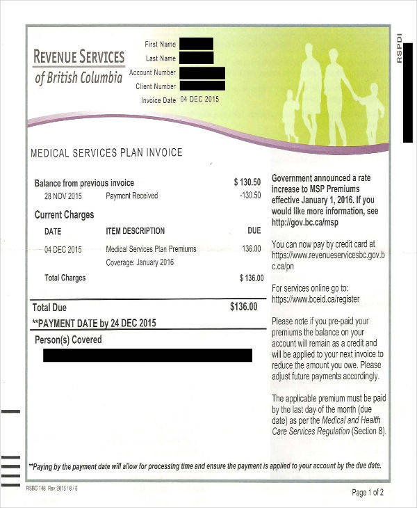 services plan invoice