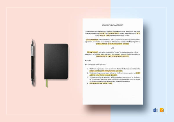 simple apartment rental agreement word template