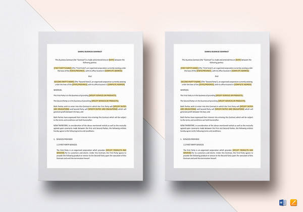 simple business contract word template