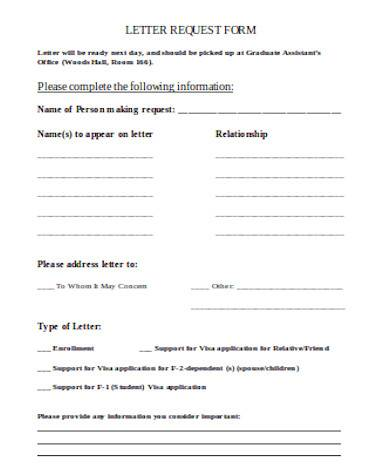 simple letter request form