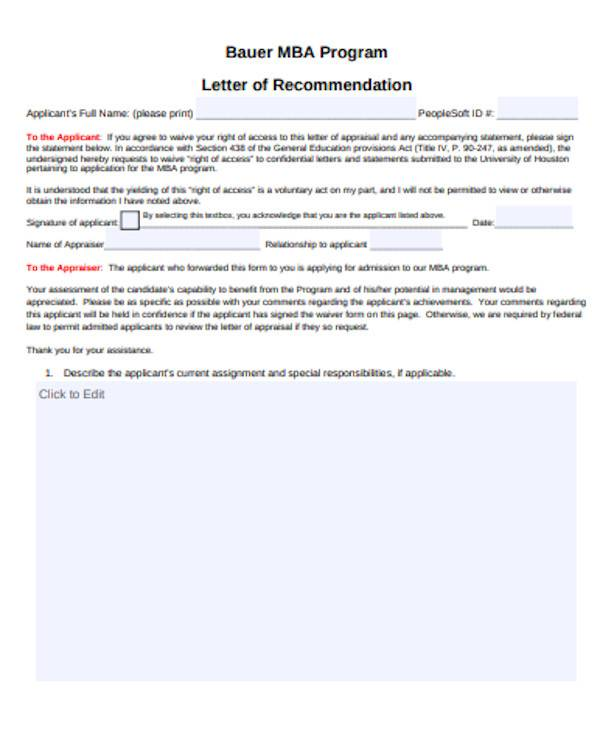 simple mba recommendation letter