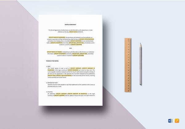 simple rental agreement word template